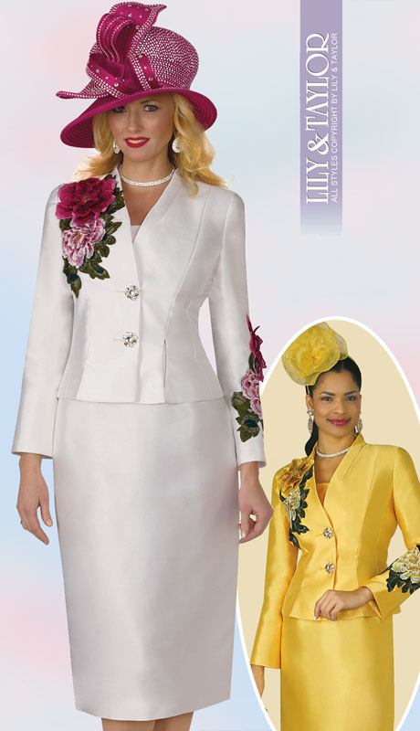 Lily And Taylor 4122-IV-IH ( 2pc Silk Ladies Church Suit With Embroidery Trim Accents )