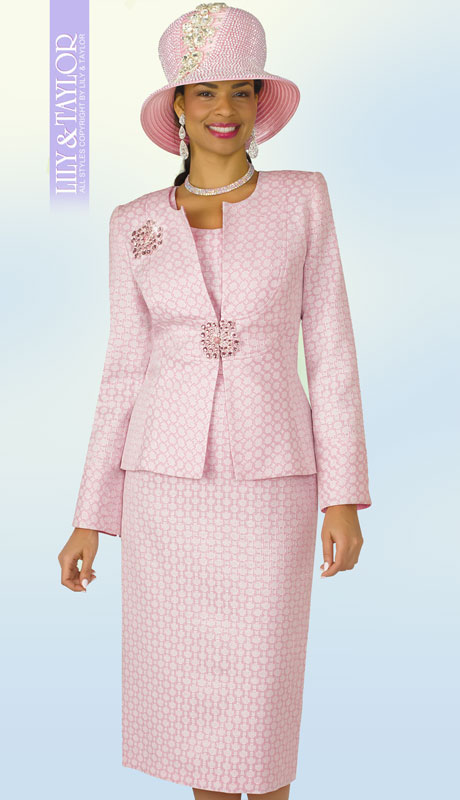 Lily And Taylor 4304-PI ( 3pc Silk Church Suit With Collarless Jacket And Jeweled ClaspWith Brooch )