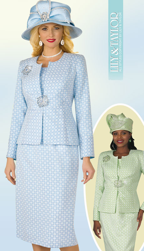 Lily And Taylor 4304-SB ( 3pc Silk Church Suit With Collarless Jacket And Jeweled ClaspWith Brooch )