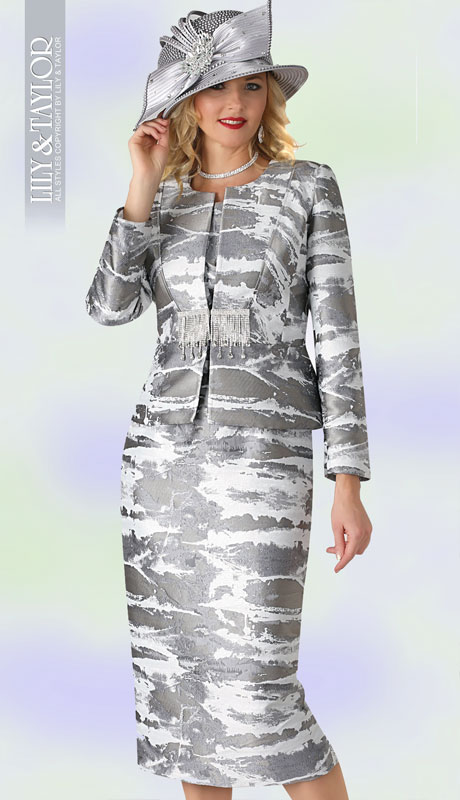 Lily And Taylor 4378-SI ( 3pc Metallic Novelty Church Suit With Collarless Jacket And Jeweled Clasp )