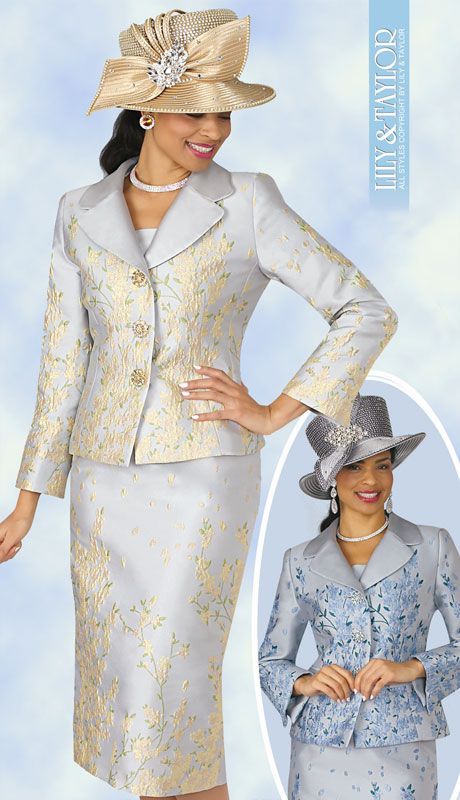 Lily And Taylor 4342-SG ( 2pc Silk Womens Church Suit With Floral Design )