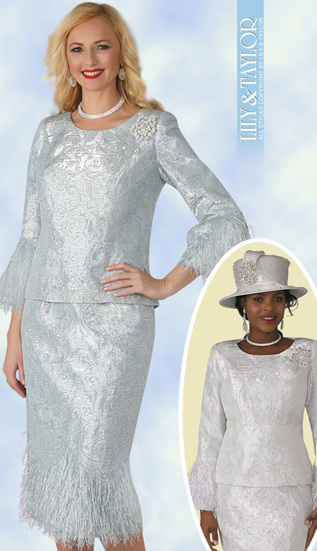 Lily And Taylor 4293-MI ( 2pc Womans Jacquard Church Suit In Elegant Pattern, Plume Trim And Jeweled Brooch )