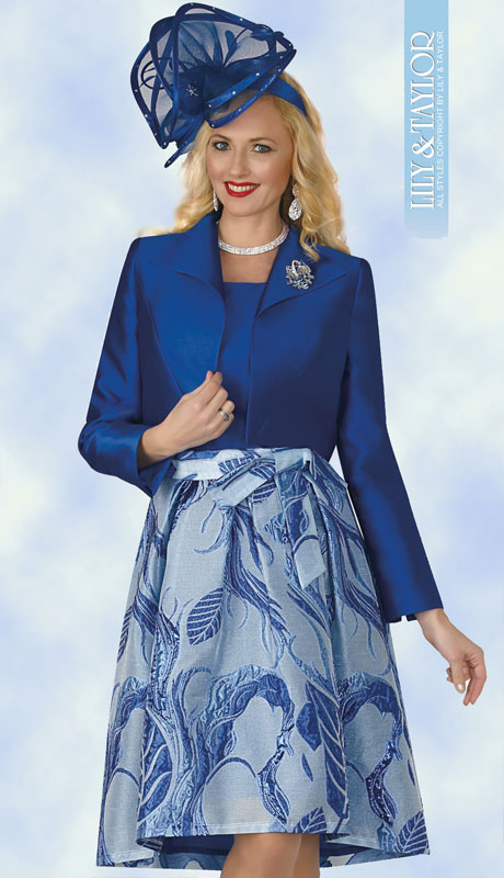Lily And Taylor 4369-RO ( 3pc Womans Silk Sunday Suit With Pleated Skirt, Elegant Pattern And Jacket With Jeweled Brooch )