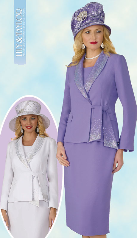 Lily And Taylor 4303-LA ( 3pc Womens PeachSkin Suit With Wrap Jacket And Jeweled Collar With Tie Sash )