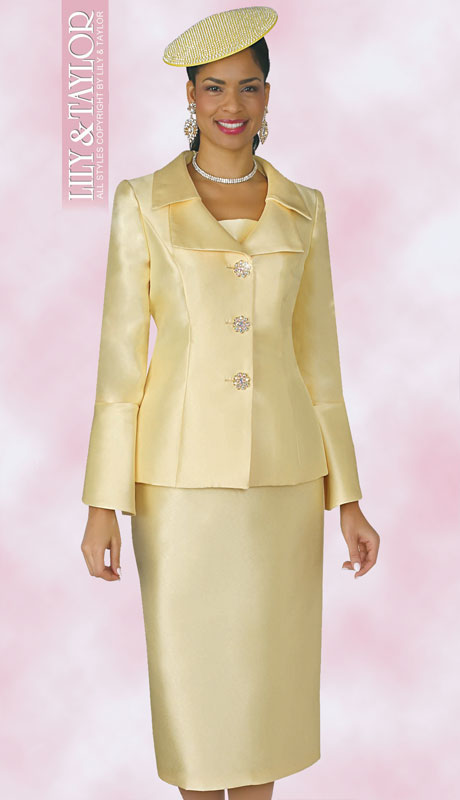 Lily And Taylor 4107-CA ( 2pc Silk Womans Church Suit With Jeweled Button Jacket And Wide Lapels )