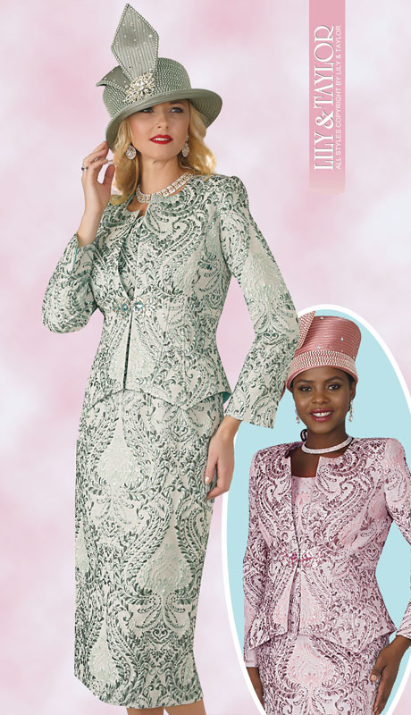 Lily And Taylor 4164-SA-IH ( 3pc Novelty Ladies Church Suit With Multi Print Design )