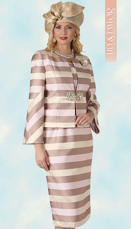 Lily And Taylor 4332-PI ( 3pc  Womans Novelty Church Suit With Stripped Design, Jeweled Clasp And Brooch )
