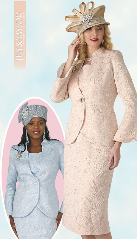 Lily And Taylor 4316-PE ( 3pc Womans Novelty Church Suit With Exclusive Brocade Skirt, French Ruffle Jacket And Rhinestone )