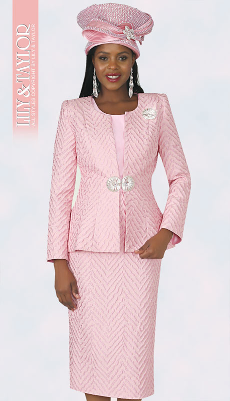 Lily And Taylor 4360-PI ( 3pc Novelty Ladies Church Suit With Embossed Print Design )