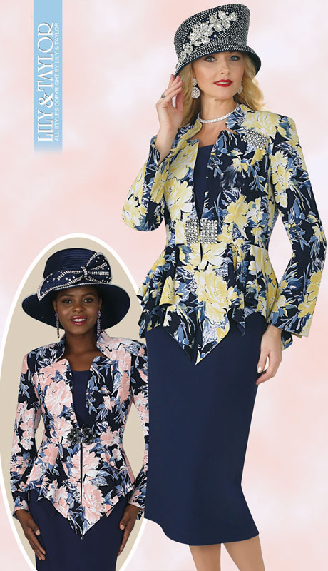Lily And Taylor 4351-NA ( 3pc Ladies Knit Church Suit With Multi Print Design, Jeweled Belt And Brooch )