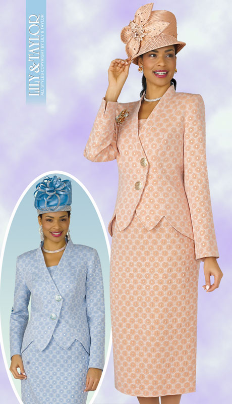 Lily And Taylor 4258-PE-IH ( 2pc Novelty Suit For Sunday With Jacket And Multi Print Design )