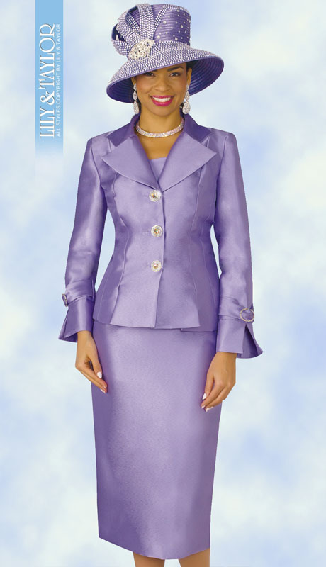 Lily And Taylor 4096-LA ( 2pc Silk Womans Church Suit With Jacket And Jeweled Buttons )