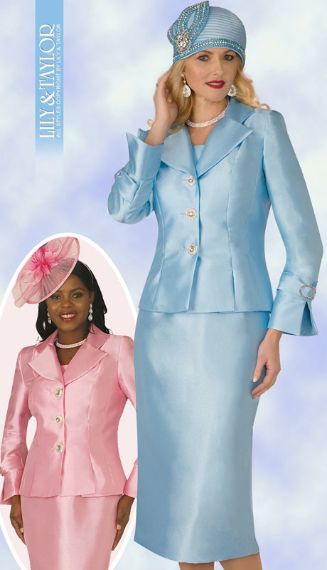 Lily And Taylor 4096-IC-IH ( 2pc Silk Womans Church Suit With Jacket And Jeweled Buttons )