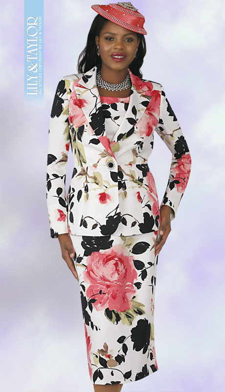 Lily And Taylor 4307-FU ( 3pc Novelty Ladies Sunday Suit With Brooch And Floral Print Design )
