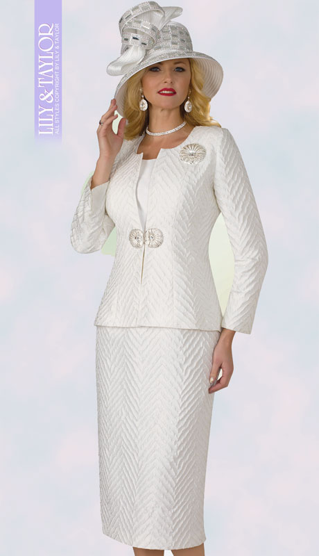 Lily And Taylor 4360-IV ( 3pc Novelty Ladies Church Suit With Embossed Print Design )