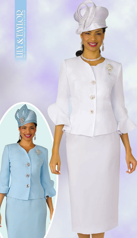 Lily And Taylor 4294-WH-IH ( 2pc Womans PeachSkin Church Suit With Frilly Sleeves And Jeweled Brooch )