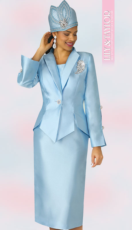 Lily And Taylor 4343-IC-IH ( 3pc Silk Ladies Church Suit With Jacket,  Jeweled Button And Brooch )