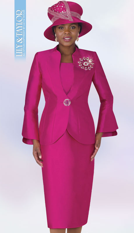 Lily And Taylor 4140-FU ( 3pc Ladies Silk Church Suit With Bell Sleeved Jacket And Exclusive Rhinestone Brooch )