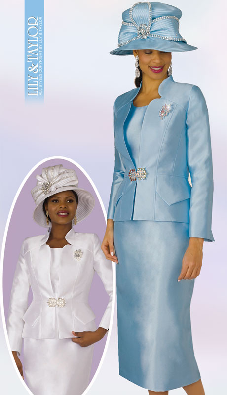 Lily And Taylor 3953-IC ( 2pc Exclusive Silk Ladies Church Suit With Rhinestone Brooch And Clasp )