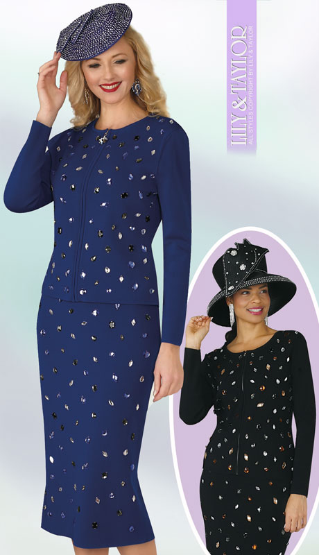 Lily And Taylor 629-RO ( 2pc Ladies Knit Church Suit With Jeweled Multi Colored Rhinestones  )