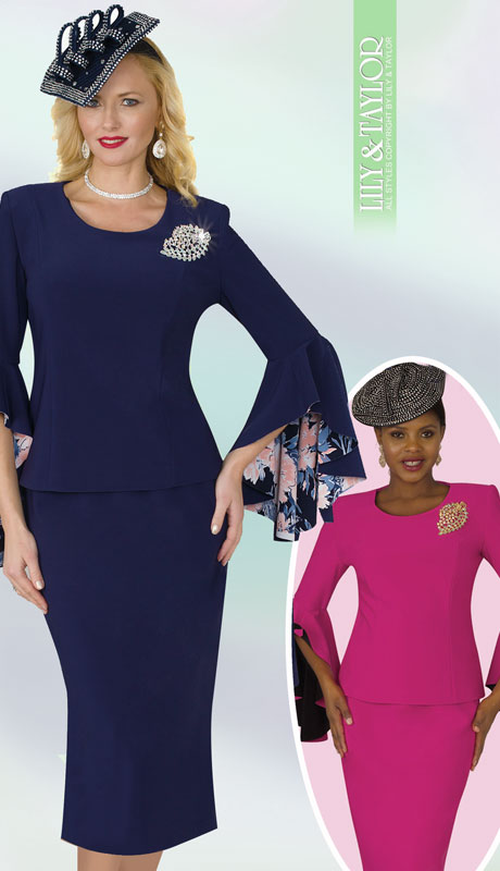 Lily And Taylor 4159-NA-IH ( 2pc Scuba Knit Ladies Sunday Suit With Wide Bell Cuff Sleeves And Brooch )