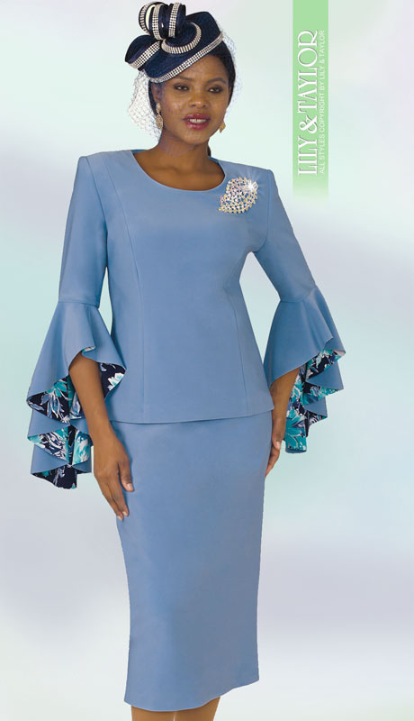 Lily And Taylor 4159-SK-IH ( 2pc Scuba Knit Ladies Sunday Suit With Wide Bell Cuff Sleeves And Brooch )