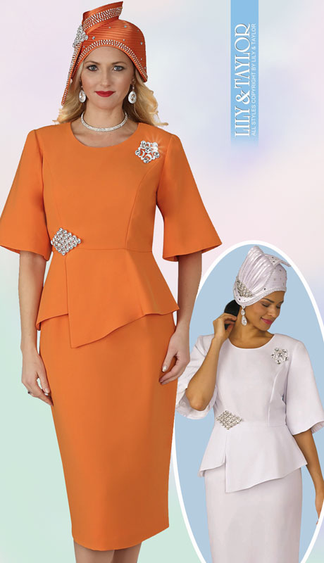 Lily And Taylor 4291-OR ( 2pc PeachSkin Ladies Church Suit With Rhinestone Clasp And Brooch )