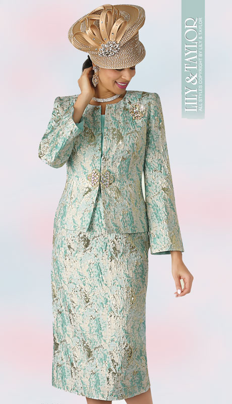 Lily And Taylor 4333-MI ( 3pc Brocade Sunday Suit With Collarless Jacket And Jeweled Clasp And Brooch )