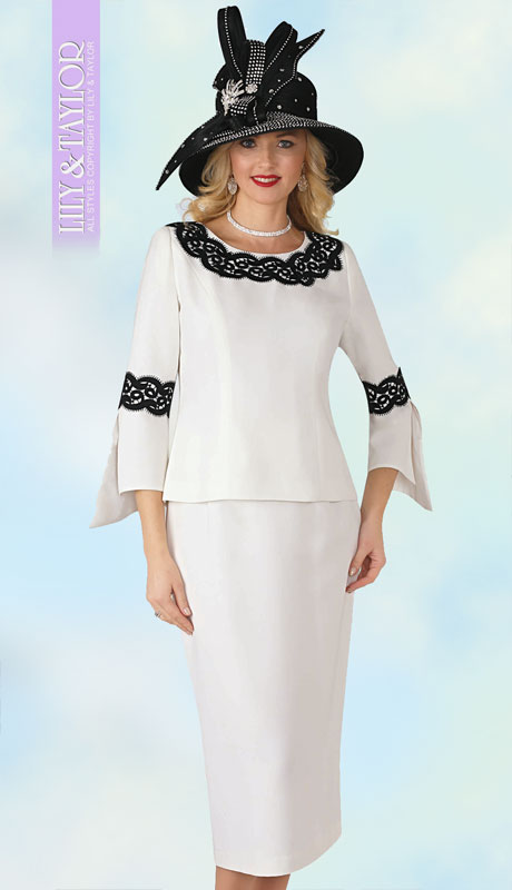 Lily And Taylor 4345-IV ( 2pc First Lady PeachSkin Suit With Laced Sleeves And Collar )