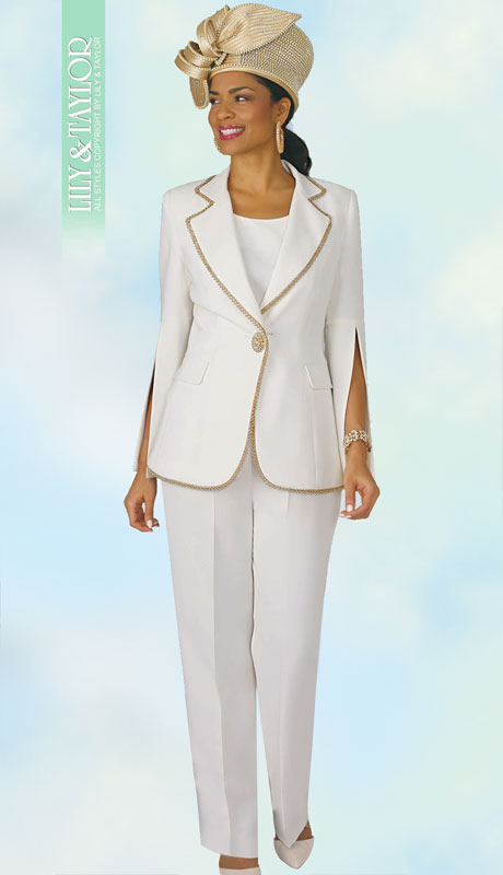 Lily And Taylor 4372-IV-CO ( 3pc PeachSkin Womans Pant Suit With Jacket And Gold Trim )