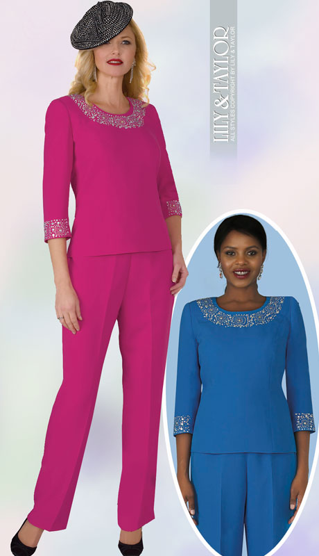 Lily And Taylor 4377-FU ( 2pc PeachSkin Womans Pant Suit With Rhinestone Trim )