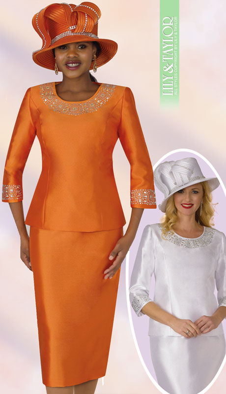 Lily And Taylor 3219-OR-IH ( 2pc First Lady Silk Suit With Rhinestone Trim )