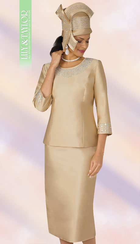 Lily And Taylor 3219-GO ( 2pc First Lady Silk Suit With Rhinestone Trim )