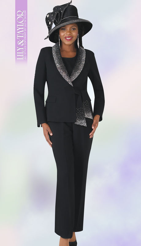 Lily And Taylor 4373-BL ( 3pc Ladies PeachSkin Pant Suit With Rhinestone Collar And Trim )