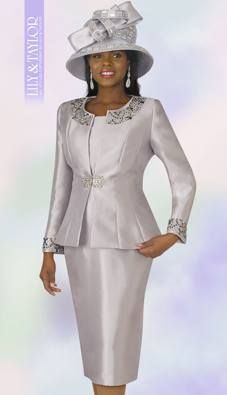 Lily And Taylor 3800-SI ( 3pc Silk Ladies Sunday Suit With Rhinestone Embellished Trims )