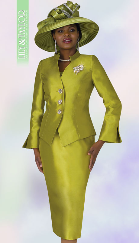 Lily And Taylor 4174-AP  ( 3pc Silk Womens Suit For Church With Brooch And Short Stand Up Collar )