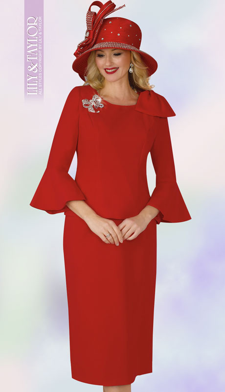 Lily And Taylor 4010-RE ( 2pc Ladies Church Suit With Bell Sleeve With Rhinestone Brooch )