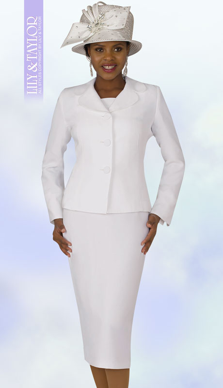 Lily And Taylor 4063-WH ( 2pc PeachSkin Ladies Sunday Suit With Notch Lapels )