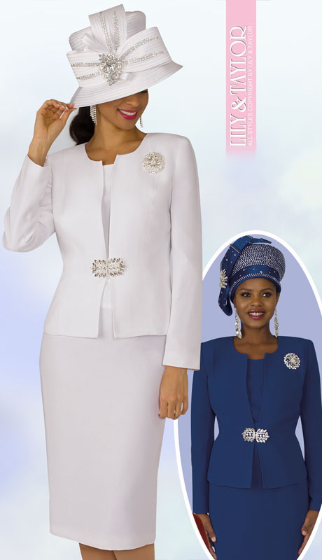 Lily And Taylor 3052-WH-IH ( 3pc Ladies Church Suit With Rhinestone Clasp And Brooch )