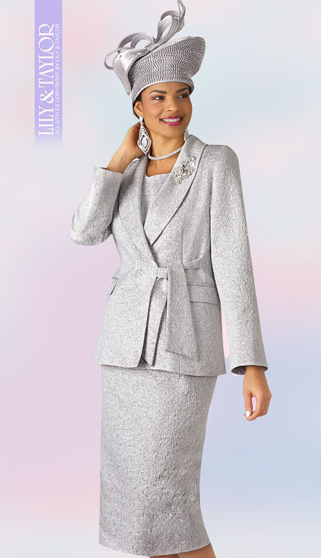 Lily And Taylor 4306-SI ( 3pc Novelty Suit For Sunday With Wrap Jacket And Tie Sash And Jeweled Brooch )
