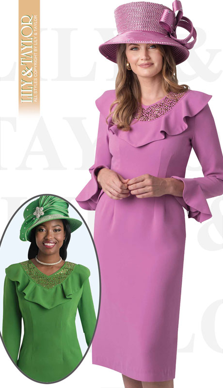 Lily And Taylor 4399-RO-IH ( 1pc Exclusive Crepe Church Dress With Ruffle And Jeweled Neckline )