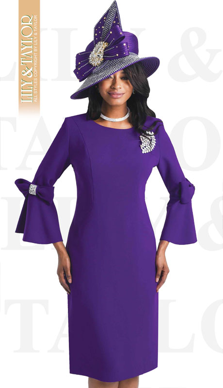 Lily And Taylor 4154-PU-IH ( 1pc Crepe Womans Church Dress With Flared Sleeves, Bow Trim And Jeweled Brooch )