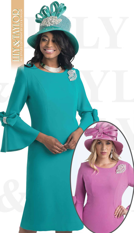 Lily And Taylor 4154-TE-IH ( 1pc Crepe Womans Church Dress With Flared Sleeves, Bow Trim And Jeweled Brooch )