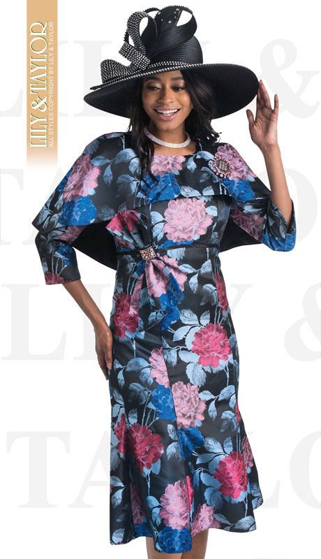 Lily And Taylor 4423-RO ( 1pc Novelty Ladies Church Dress With Wrap Around Shawl )