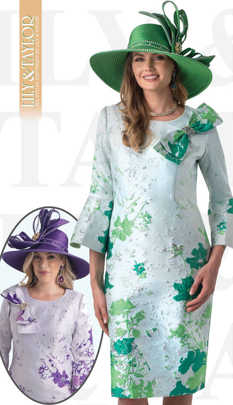 Lily And Taylor 4356-EM-IH ( 1pc Novelty Womens Church Dress With Embroidery Pattern Bow Tie Trim And Flared Sleeves )