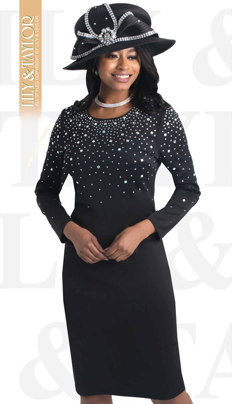 Lily And Taylor 4436-BL ( 1pc Ponte Knit First Lady Dress With Jeweled Accents )