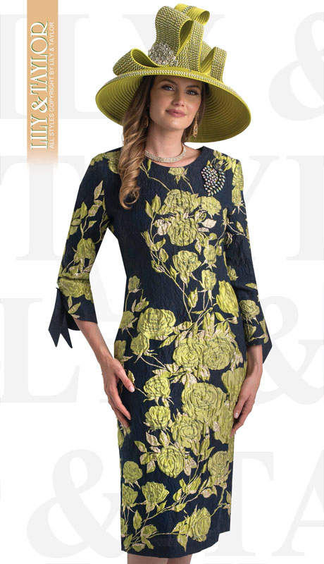 Lily And Taylor 4393-NA-IH ( 1pc Novelty Floral Patterened Womens Church Dress With Tie Sleeve Trim And Jeweled Brooch )
