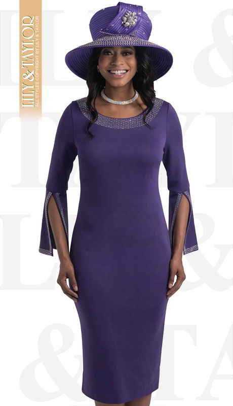 Lily And Taylor 4153-PU-IH ( 1pc Knit First Lady Dress With With Split Bell Cuff And Rhinestone Details )