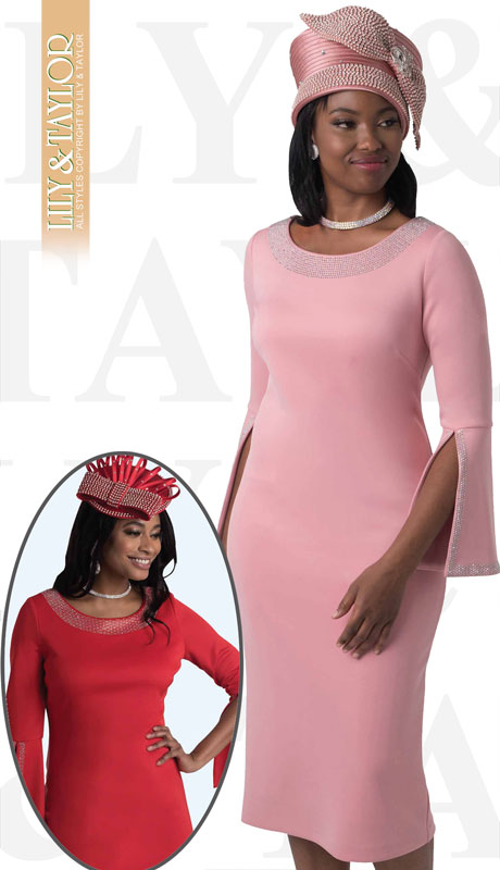 Lily And Taylor 4153-RO ( 1pc Knit First Lady Dress With With Split Bell Cuff And Rhinestone Details )