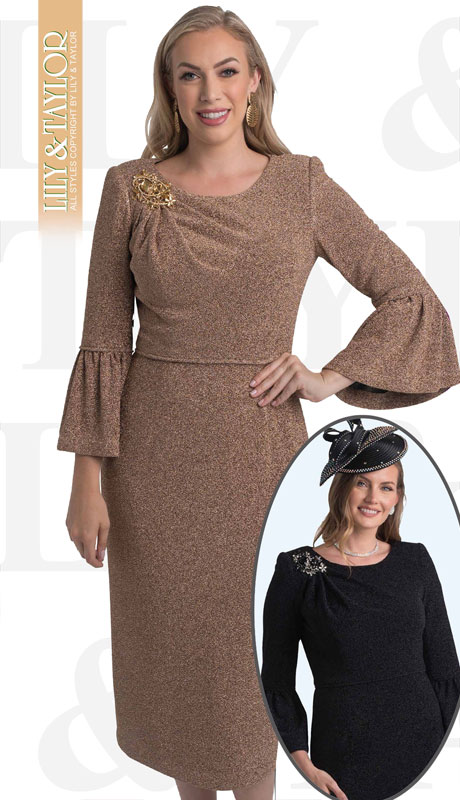 Lily And Taylor 4456-GO-IH ( 1pc  Knit First Lady Dress With Flared Sleeves And Jeweled Brooch )